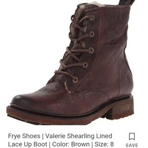 FRYE LEATHER ANKLE BOOTS SHEARLING LINED 11